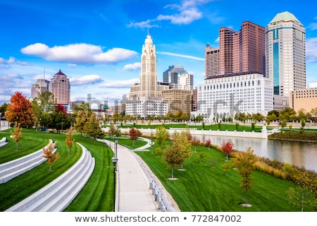 columbus ohio skyline reflected in the scioto river columbus i stock photo © alex_grichenko