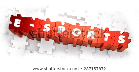 e-Sports  - White Word on Red Puzzles. Stock photo © tashatuvango