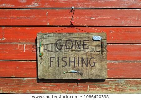 balık · tutma · imzalamak · tebeşir · küçük · tahta - stok fotoğraf © olandsfokus