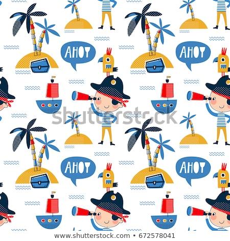 colored Pirates pattern. Hand drawn Stock photo © netkov1