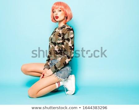 Schoonheid portret sexy vrouw roze lippen sensueel vrouw Stockfoto © NeonShot