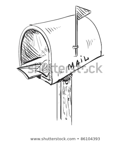 Hand draws a pencil post box on a white Stock photo © vlad_star