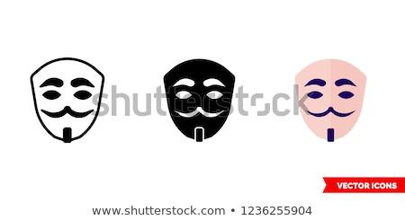 Anonimowy maska biały drewna w stylu retro działalności Zdjęcia stock © jarin13