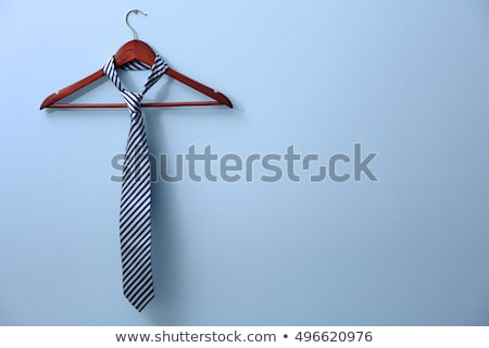 Iş kravat açık mavi ahşap mutlu duvar Stok fotoğraf © gigra