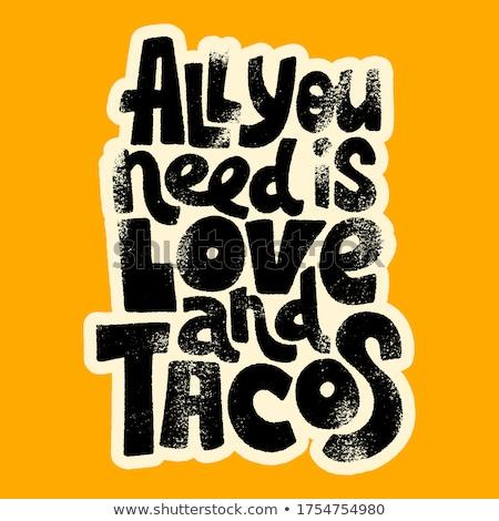 Komik tacos örnek plaka biber karikatür Stok fotoğraf © adrenalina