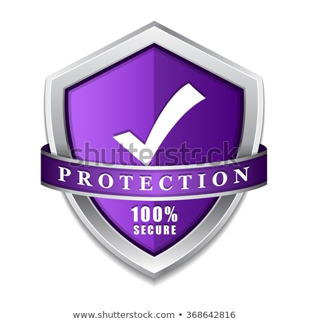 Protection 100 Percent Secure Violet Shield Vector Icon Stock photo © rizwanali3d
