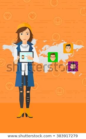 Vrouw social media bron asian Stockfoto © RAStudio