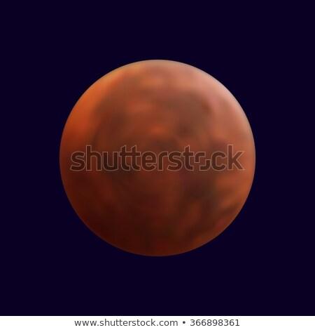Realistic shining full mars in the dark blue sky Stock photo © Fosin