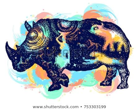Nosorożec tatuaż rysunki czarno białe wektora Zdjęcia stock © derocz