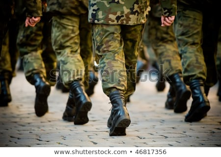 Stok fotoğraf: Soldiers With Military Camouflage Uniform In Army Formation