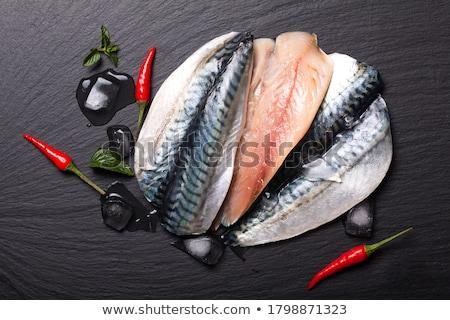 Friss makréla egyéb hozzávalók vágódeszka étel Stock fotó © Digifoodstock