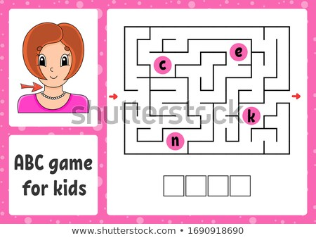 A coloring worksheet with a young girl Stock photo © bluering