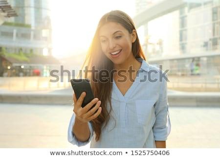 adolescente · menina · relaxar · casa · telefone · feliz - foto stock © giulio_fornasar