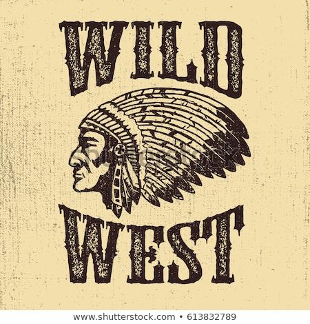 oeste · negro · blanco · cráneo · dos - foto stock © bluering