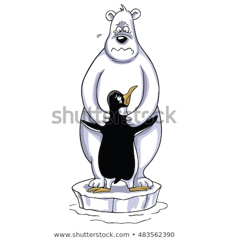 Orso polare pinguino cartoon triste polare Foto d'archivio © doddis