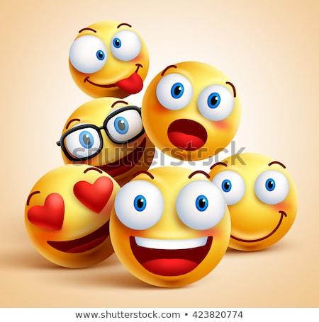 Conjunto amarelo sorrir cara Foto stock © nezezon