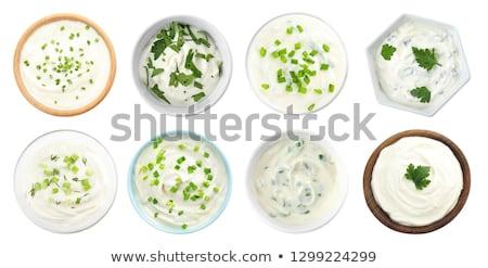 サワークリーム ドレッシング 自家製 セラミック 皿 ハーブ ストックフォト © Digifoodstock