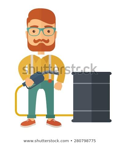 férfi · hordoz · olaj · hordó · ázsiai · munkás - stock fotó © rastudio