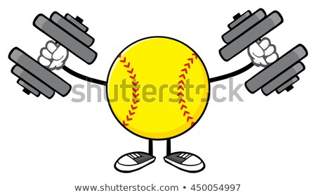 Softball mascotte dessinée personnage haltères illustration Photo stock © hittoon