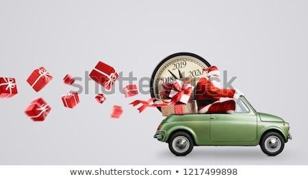 Stock fotó: Toy Car Carrying Christmas Gift Box