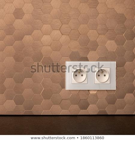 White electric socket on kitchen wall with ceramic tiles Stock photo © stevanovicigor
