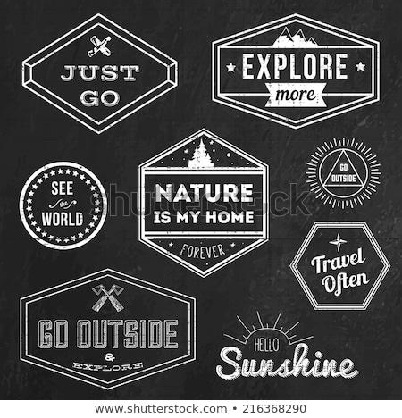 chalk vintage adventure badge and outdoors logo emblem stock photo © jeksongraphics