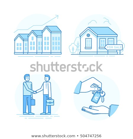 Line design illustration of buying a house stock photo © kali