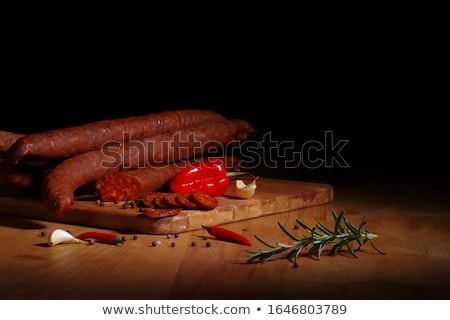Ломтики копченый колбаса продовольствие белом фоне Сток-фото © Digifoodstock