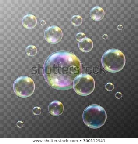 Realistisch zeepbel zwarte bubble regenboog reflectie Stockfoto © pakete