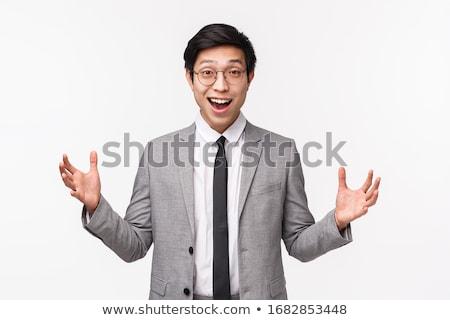 小さな · ビジネスマン · スーツ · 大きな笑顔 · 孤立した · 白 - ストックフォト © gsermek