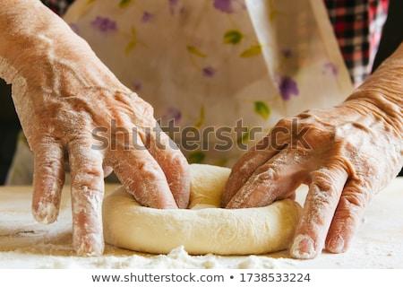 voorbereiding · taart · kom · houten · tafel · tabel - stockfoto © user_10493298