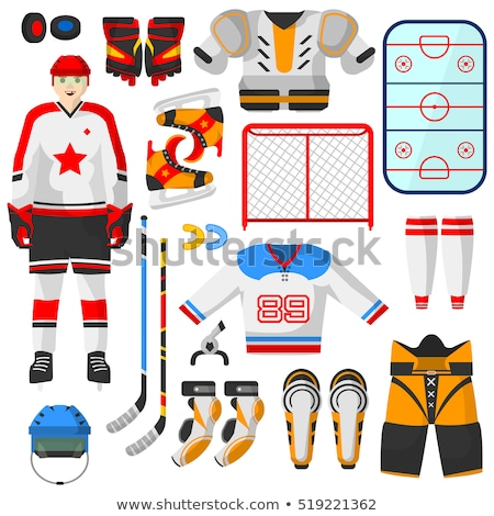 vector flat style set of hockey equipment stock photo © curiosity
