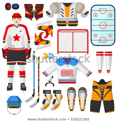 Vector stijl ingesteld hockey uitrusting icon Stockfoto © curiosity