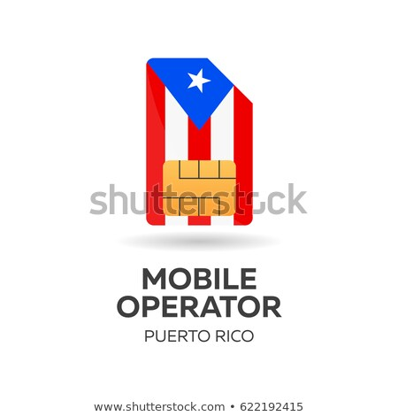 Puerto Rico mobile operator. SIM card with flag. Vector illustration. Stock photo © Leo_Edition