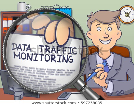 data traffic monitoring through magnifying glass doodle concept stock photo © tashatuvango