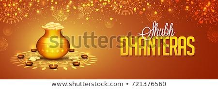 Złoty monet dekoracji diwali festiwalu lampy Zdjęcia stock © SArts