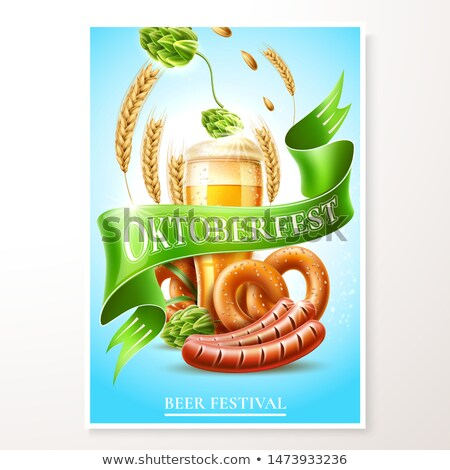 Octoberfest symbols beer pretzel and wheat Stock photo © LoopAll