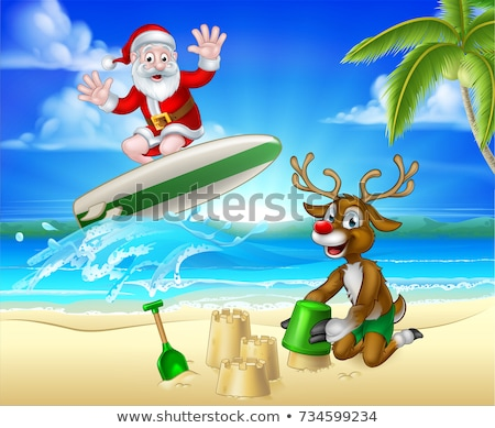 Santa Surfing and Reindeer on Tropical Beach Stock photo © Krisdog