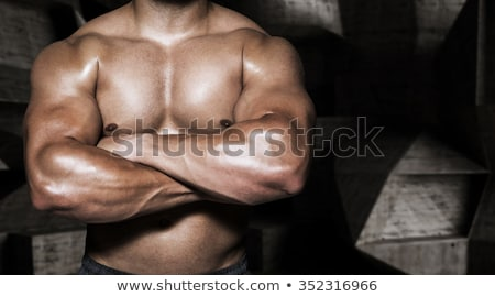 Mid section of shirtless man with arms crossed Stock photo © wavebreak_media