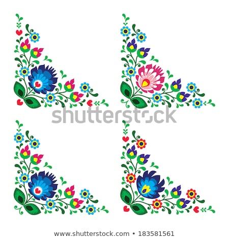 Corners border Polish floral folk art vector pattern - Wzory Lowickie, traditional designs  Stock photo © RedKoala