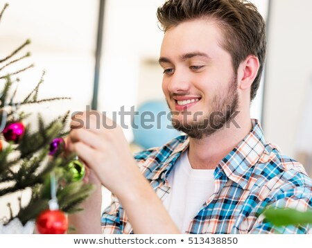 mikulás · díszít · karácsony · fa · örökzöld · fenyő - stock fotó © maryvalery