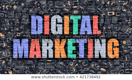 multicolor social commerce on dark brickwall doodle style stock photo © tashatuvango