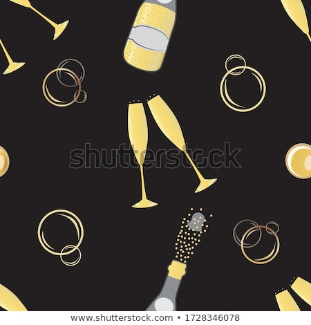 Bottle and glass of yellow champagne on black Stock photo © DenisMArt