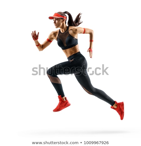 Athletic woman runner isolated on white background Stock photo © alphaspirit