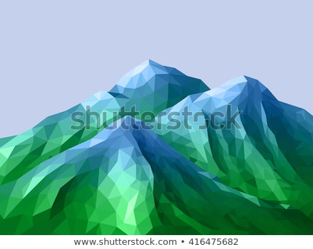 Abstract blue and green mountain landscape in polygonal, 3d Illustration Stock photo © tussik