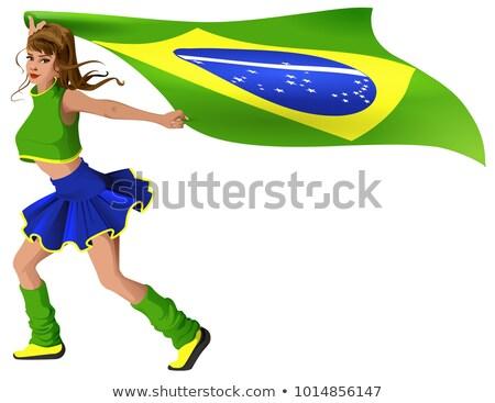 Vrouw fan cheerleader vlag Brazilië Stockfoto © orensila