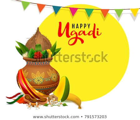 Happy Ugadi. Template greeting card traditional festive Indian food Stock photo © orensila