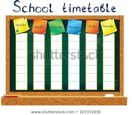 Schule Zeitplan Zeitplan Aufkleber Tafel Vektor Stock foto © popaukropa