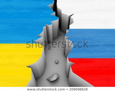 Konfliktus Ukrajna Oroszország négyszögletes zászlók sötét Stock fotó © romvo