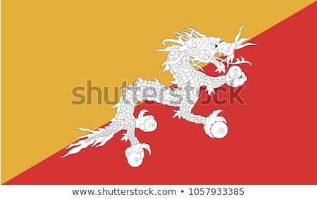 Bhutan vlag witte ontwerp oranje reizen Stockfoto © butenkow